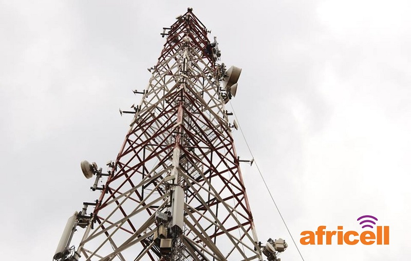 A mast of Africell located at the company headquarters on Clement Hill Road in Kampala