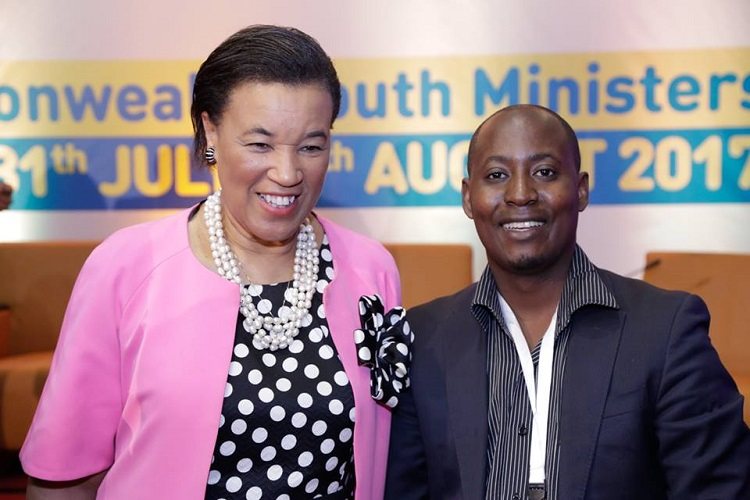Commonwealth Secretary General Patricia Janet Scotland poses for a photo with Ronald Katamba during the Commonwealth Youth Ministers meeting in July of 2017 in Uganda