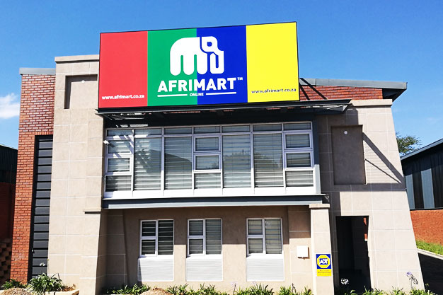 A building with an Afrimart logo