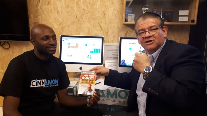 Dickson Mushabe (L) and Wilson Cristancho at the Mobile World Congress in Barcelona