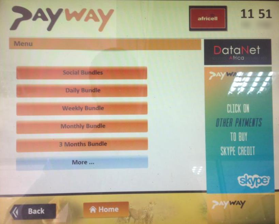 buy Africell Swift bundles using Payway PoS terminals