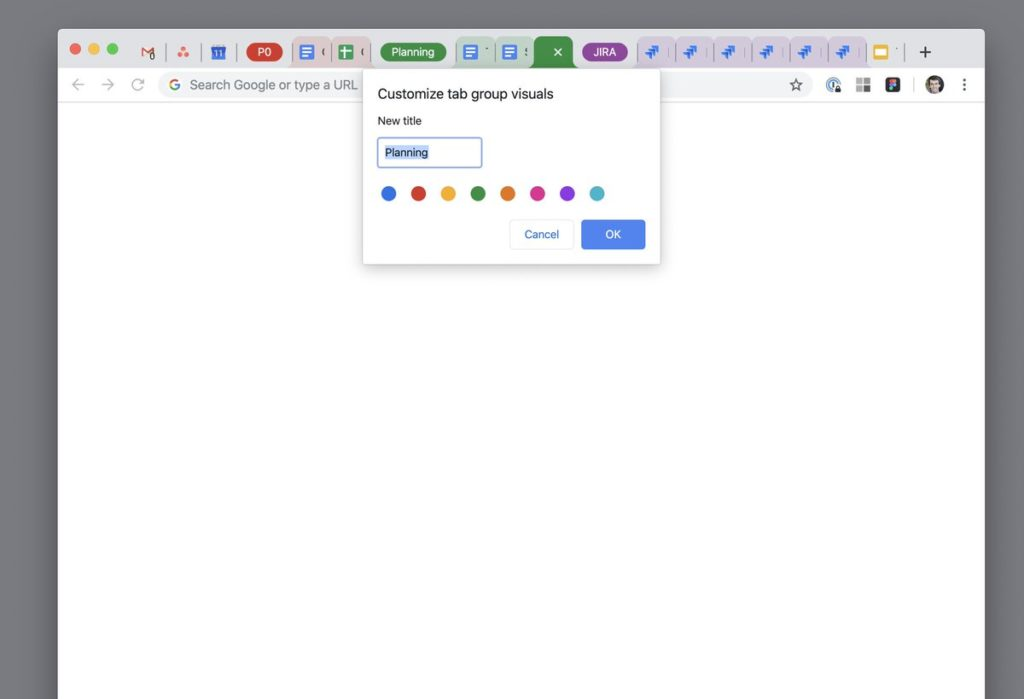 chrome group tabs